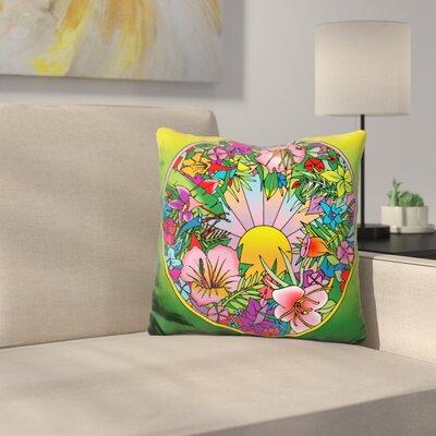 Circle Fleurs Throw Pillow Color: Green/Pink