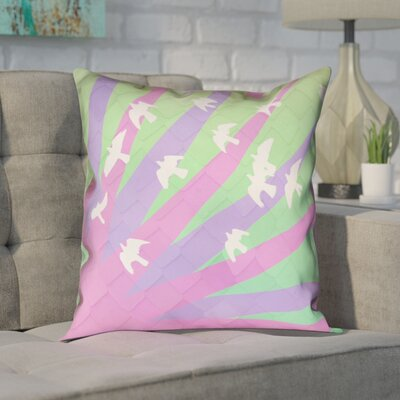 Enciso Birds and Sun Zipper Pillow Cover Size: 26 H x 26 W, Color: Red/Yellow/Blue