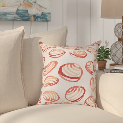 Cedarville Clams Geometric Print Throw Pillow Size: 18 H x 18 W, Color: Coral