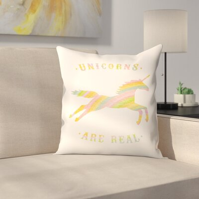 Florent Bodart Unicorns are Real Throw Pillow Size: 16 x 16