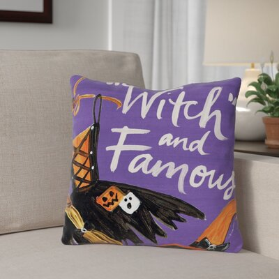 Halloween Witch and Famous Throw Pillow Size: 16 x 16