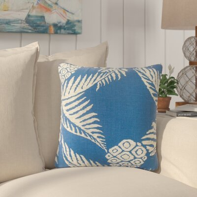 Milivoje Floral Cotton Throw Pillow Color: Navy