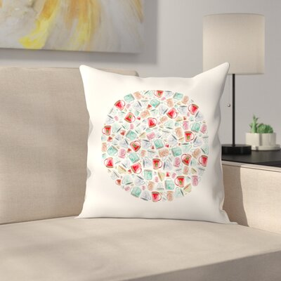 Elena ONeill Mugs Circle Throw Pillow Size: 20 x 20