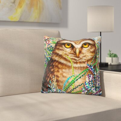 Burrowing Owl in Flowers Throw Pillow