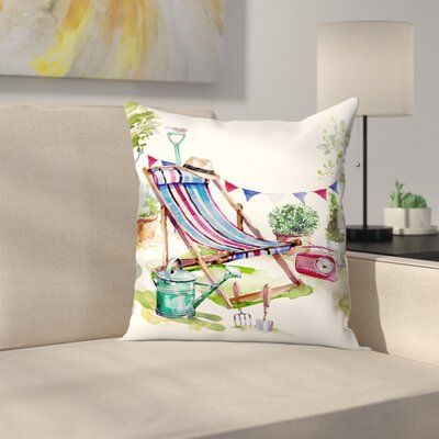 Deckchair In The Garden Throw Pillow Size: 16 x 16