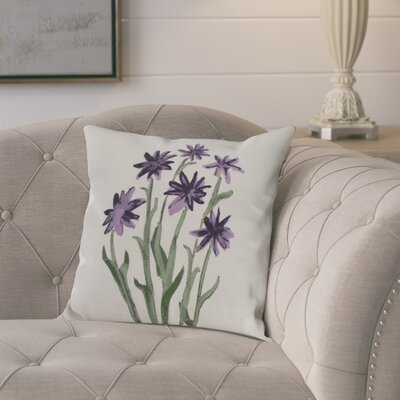Kaylor Daffodils Indoor/Outdoor Throw Pillow Color: Purple, Size: 20 x 20