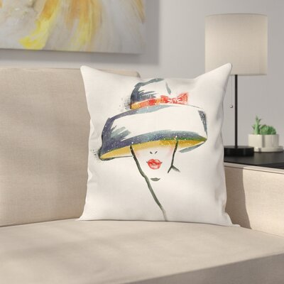Modern Fashion Woman with a Hat Cushion Pillow Cover Size: 16 x 16
