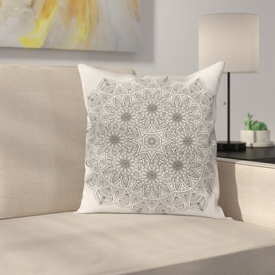 Mandala Indian Floral Square Pillow Cover Size: 18 x 18