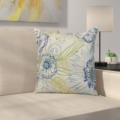 Jarred Floral Print Indoor/Outdoor Throw Pillow Color: Blue, Size: 18 x 18