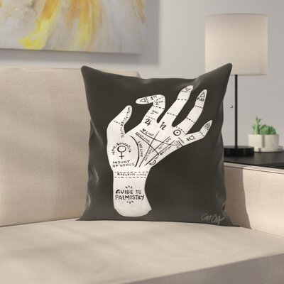 Palmistry Throw Pillow Color: Black/White, Size: 16 x 16