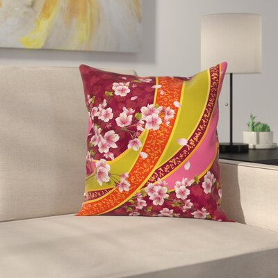Sakura Blossom Japanese Square Pillow Cover Size: 18 x 18