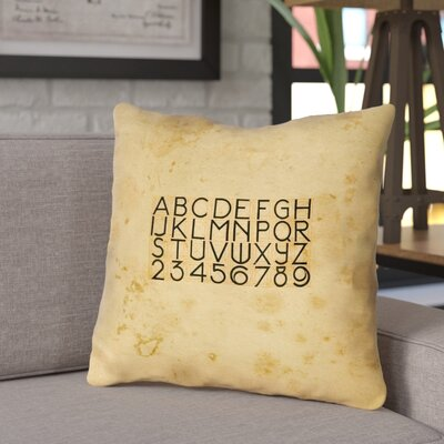 Daniyar Vintage Typography Square Throw Pillow with Zipper Size: 16 x 16