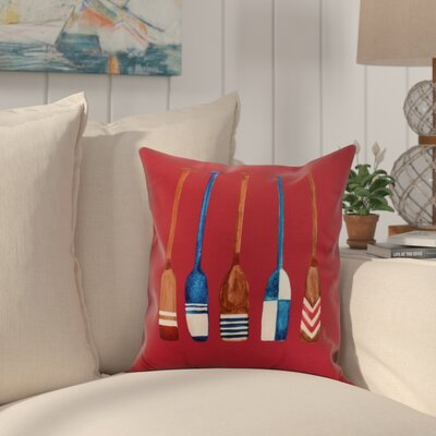 Crider Oar Multi Painted Print Indoor/Outdoor Throw Pillow Color: Red, Size: 20 x 20