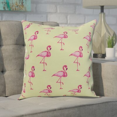 Crosswhite Flamingo Fanfare Multi Animal Print Indoor/Outdoor Throw Pillow Color: Light Green, Size: 20 x 20
