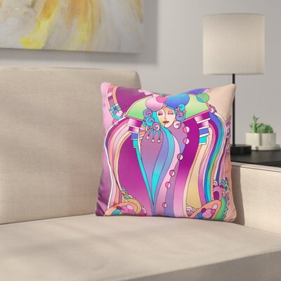 Art Deco Lady Bird Throw Pillow Color: Pink