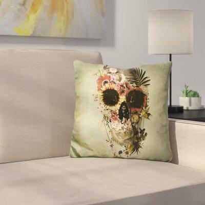 Garden Skull Light Sq Throw Pillow