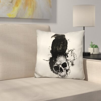 McLarty Raven and Skull Throw Pillow