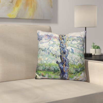 View of Arles Flowering Orchar Throw Pillow