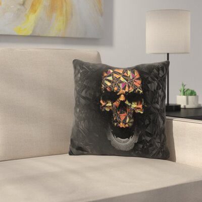 Skull Throw Pillow Color: Brown