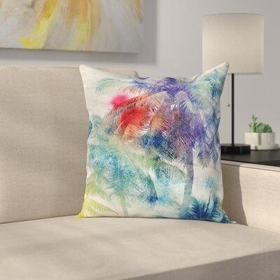 Tropical WaterPalm Retro Square Pillow Cover Size: 16 x 16