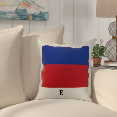 Cayer E Letter Simple Outlined Geometric Print Indoor/Outdoor Throw Pillow Size: 18 x 18