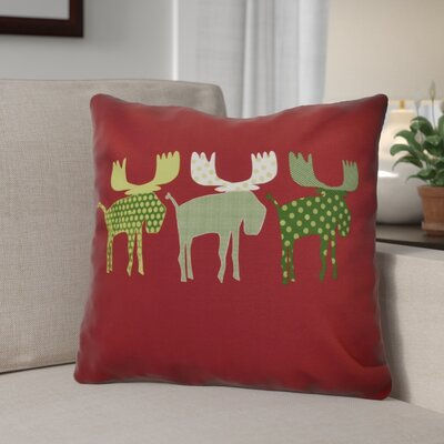 Christmas Decorative Holiday Animal Print Throw Pillow Size: 26 H x 26 W, Color: Cranberry