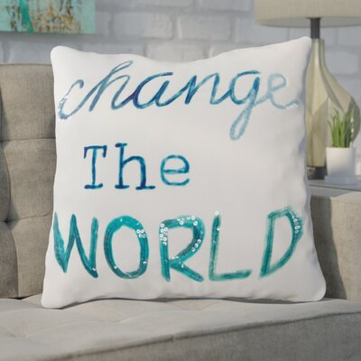 Criswell Word/Sequin 100% Cotton Throw Pillow