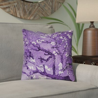 Lei Almond Blossom Throw Pillow Color: Purple, Size: 18 x 18