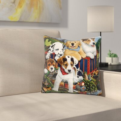 Choo Choo Puppies Throw Pillow