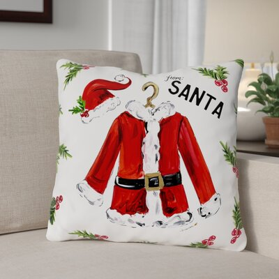 Santa Jacket Throw Pillow Size: 18