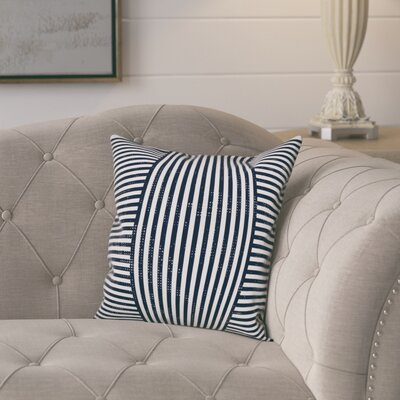 Castelvecchio Stripes Throw Pillow Color: Navy, Size: 18 x 18, Type: Pillow Cover