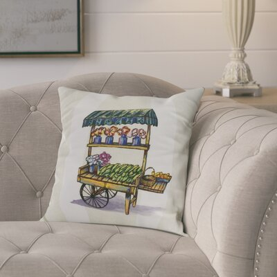 Kaylor Veggie Cart Indoor/Outdoor Throw Pillow Color: Green, Size: 18 x 18