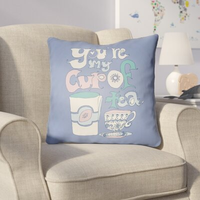 Colindale Youre My Cup Of Tea Throw Pillow Size: 22 H �x 22 W x 5 D, Color: Periwinkle
