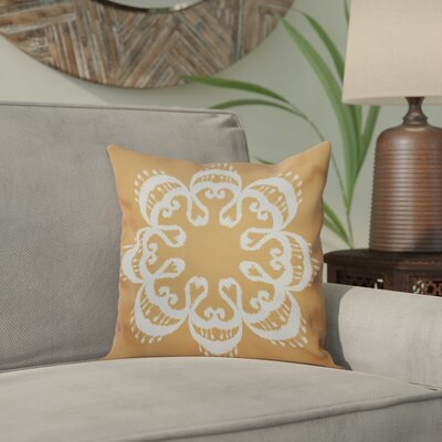 Oliver Ikat Mandala Geometric Print Throw Pillow Size: 18 H x 18 W, Color: Gold