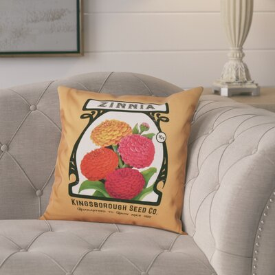 Swan Valley Zinnia Floral Outdoor Throw Pillow Size: 18 H x 18 W, Color: Gold