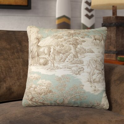 Elijah Toile Cotton Throw Pillow Cover Size: 18 x 18, Color: Aqua