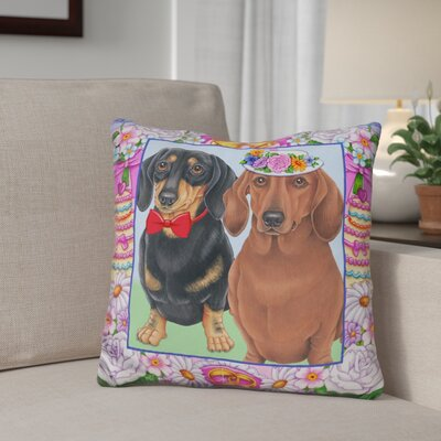 Giblin Wedding Dachsunds Throw Pillow