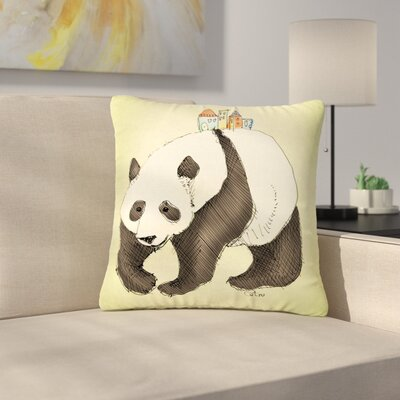 Carina Povarchik Happy Panda Wildlife Outdoor Throw Pillow Size: 16 H x 16 W x 5 D