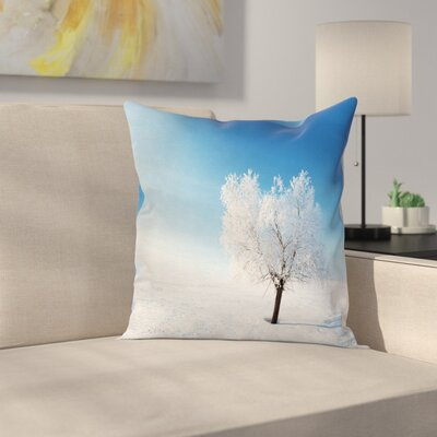 Winter Snow Covered Alone Tree Square Pillow Cover Size: 24 x 24