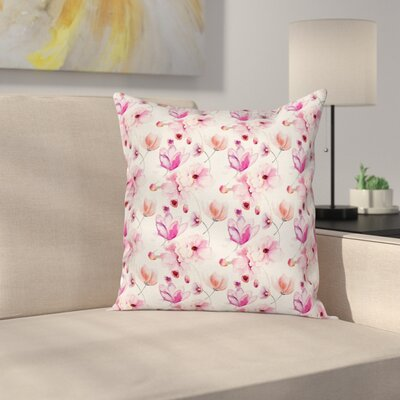 Stain Resistant Floral Square Pillow Cover with Zipper Size: 18 x 18