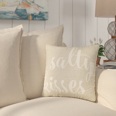 Destin Salty Kisses Typography Cotton Throw Pillow Size: 16 H x 16 W x 6 D, Color: Beige