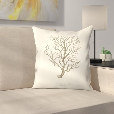 Greige Branch Throw Pillow Size: 16 x 16