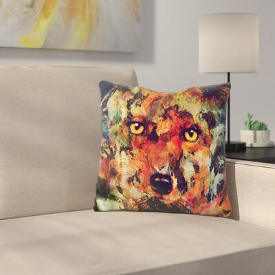 Martindale Watercolor Fox Throw Pillow