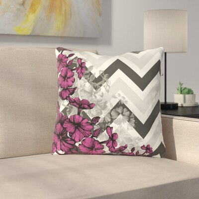 Santini Chevron Floral Throw Pillow Color: Pink, Size: 18 x 18