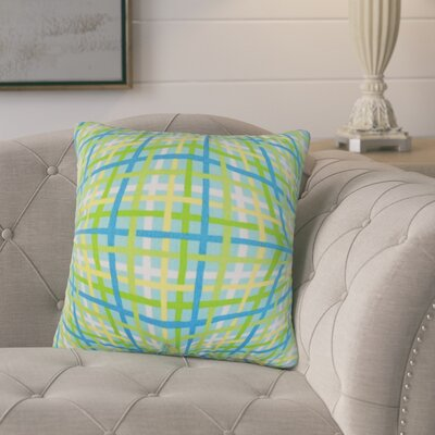 Poulos Plaid Throw Pillow Color: Green