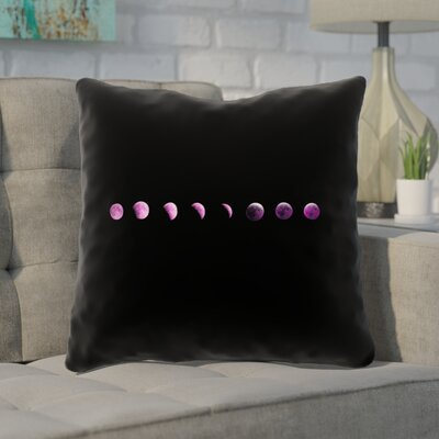 Enciso Moon Phases Throw Pillow Color: Purple, Size: 16 x 16