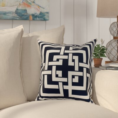 Crider Greek New Key Geometric Print Indoor/Outdoor Throw Pillow Color: Navy, Size: 18 x 18