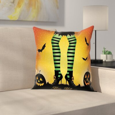 Halloween Decor Cartoon Witch Square Pillow Cover Size: 18 x 18