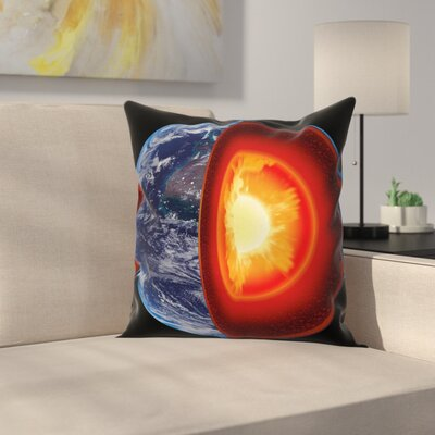 Earth Hot Burning Earth Core Square Pillow Cover Size: 24 x 24