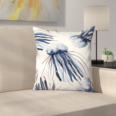 Jetty Printables Jellyfish Watercolor Throw Pillow Size: 14 x 14